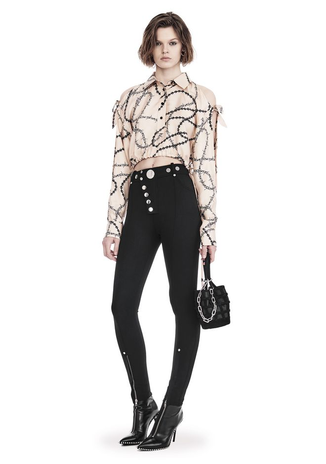 ALEXANDER WANG CROPPED BLOUSE WITH SLIT SHOULDERS AND BARBED WIRE PRINT  TOP Adult 12_n_f