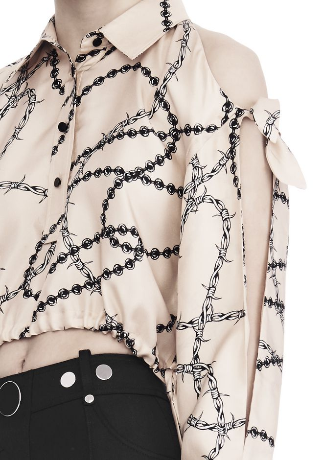 ALEXANDER WANG CROPPED BLOUSE WITH SLIT SHOULDERS AND BARBED WIRE PRINT  TOP Adult 12_n_r