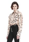 ALEXANDER WANG CROPPED BLOUSE WITH SLIT SHOULDERS AND BARBED WIRE PRINT  TOP Adult 8_n_a