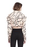 ALEXANDER WANG CROPPED BLOUSE WITH SLIT SHOULDERS AND BARBED WIRE PRINT  TOP Adult 8_n_d