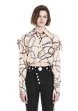ALEXANDER WANG CROPPED BLOUSE WITH SLIT SHOULDERS AND BARBED WIRE PRINT  TOPS Adult 8_n_e