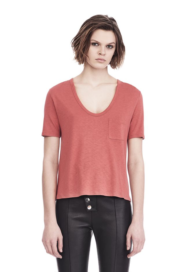 T by ALEXANDER WANG CLASSIC CROPPED TEE WITH POCKET TOP Adult 12_n_e
