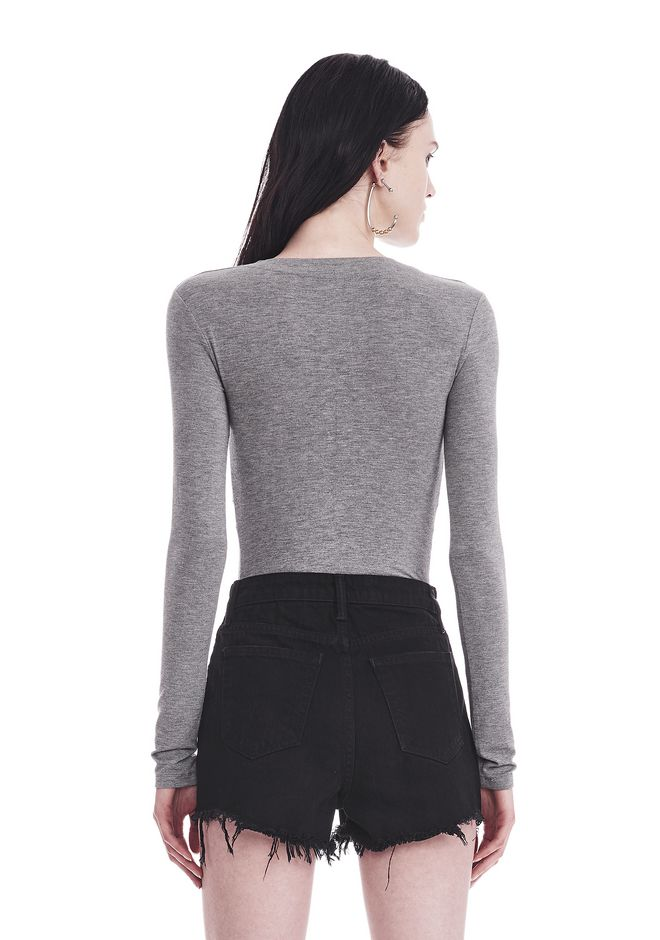 T by ALEXANDER WANG TWIST FRONT LONG SLEEVE BODYSUIT TOP Adult 12_n_a