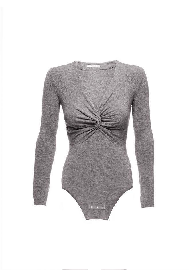 T by ALEXANDER WANG TWIST FRONT LONG SLEEVE BODYSUIT TOP Adult 12_n_d