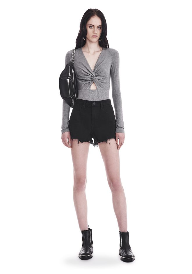T by ALEXANDER WANG TWIST FRONT LONG SLEEVE BODYSUIT TOP Adult 12_n_f