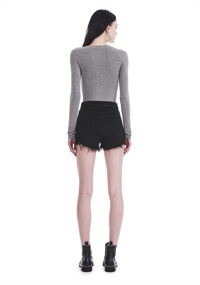 T by ALEXANDER WANG TWIST FRONT LONG SLEEVE BODYSUIT TOP Adult 12_n_r
