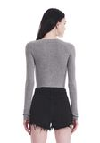 T by ALEXANDER WANG TWIST FRONT LONG SLEEVE BODYSUIT TOP Adult 8_n_a