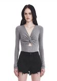 T by ALEXANDER WANG TWIST FRONT LONG SLEEVE BODYSUIT TOP Adult 8_n_e