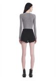 T by ALEXANDER WANG TWIST FRONT LONG SLEEVE BODYSUIT TOP Adult 8_n_r