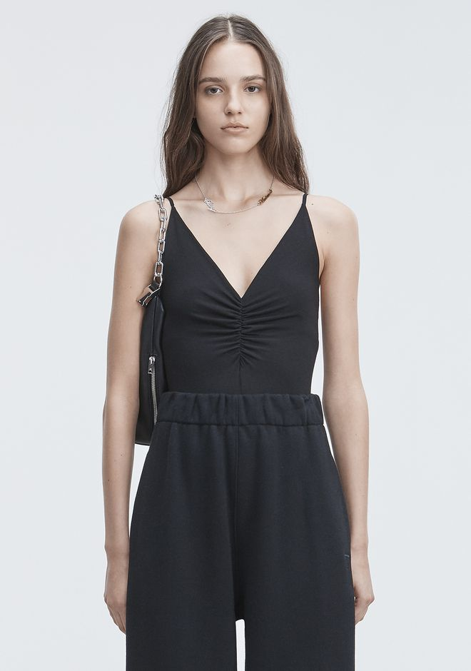 T by ALEXANDER WANG bodysuits EXCLUSIVE SHIRRED FRONT SLEEVELESS BODYSUIT