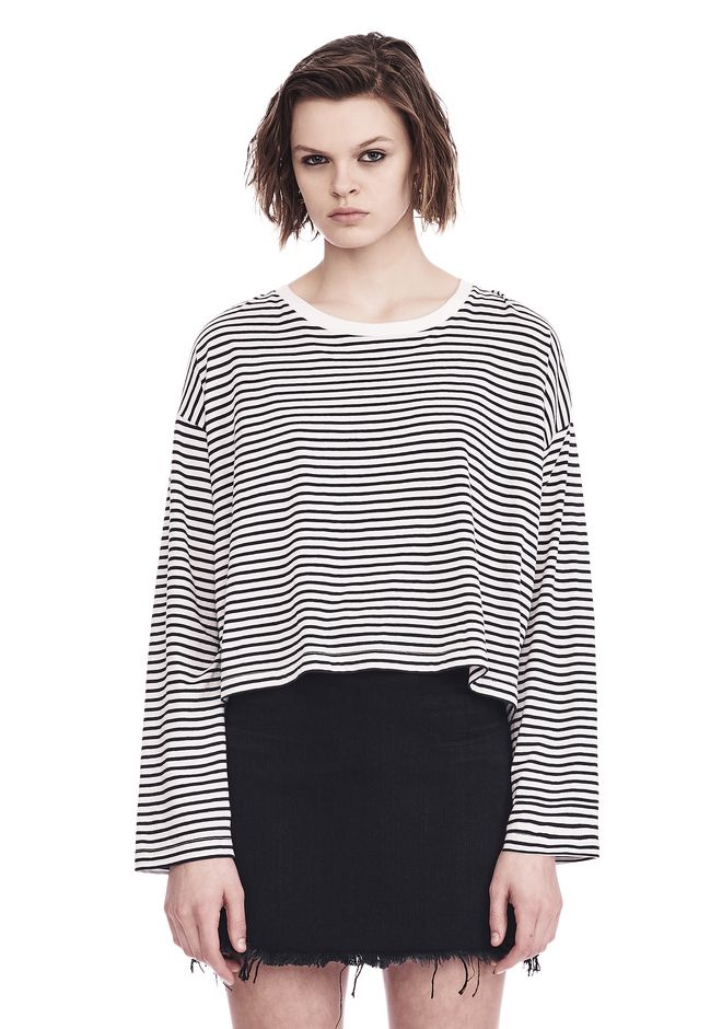 T by ALEXANDER WANG sltbtp STRIPED LONG SLEEVE DROP SHOULDER TEE