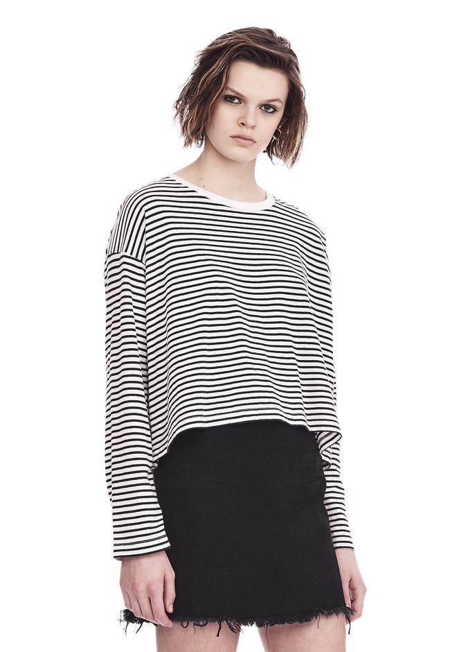 T by ALEXANDER WANG STRIPED LONG SLEEVE DROP SHOULDER TEE 上衣 Adult 12_n_a