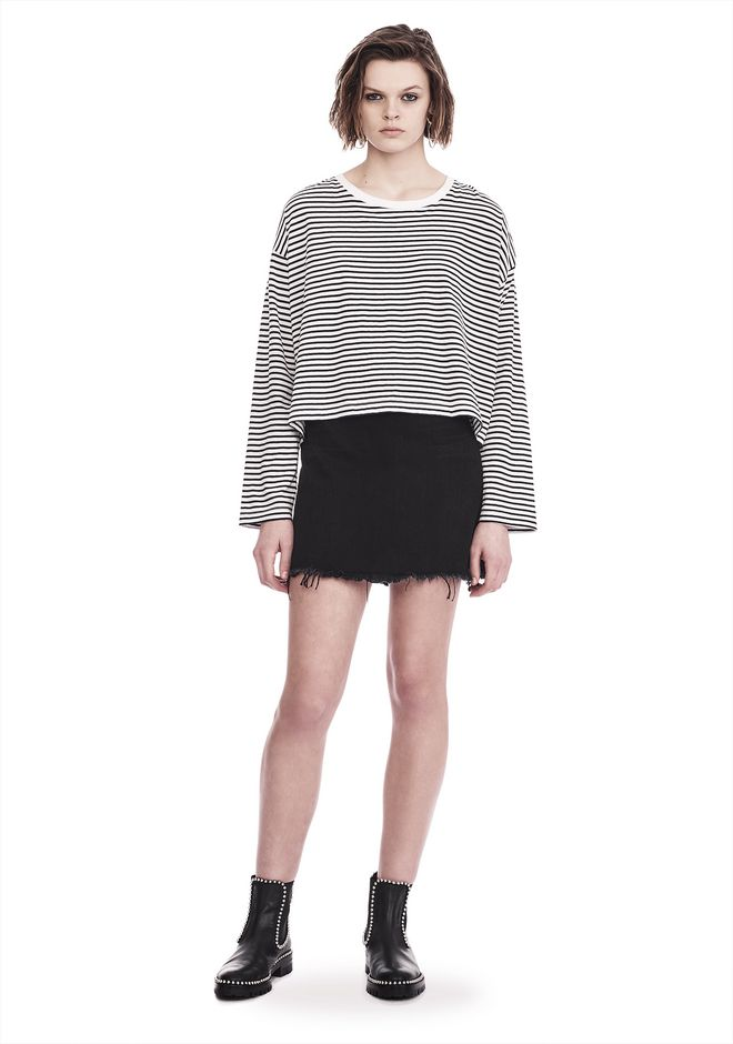 T by ALEXANDER WANG STRIPED LONG SLEEVE DROP SHOULDER TEE 上衣 Adult 12_n_f