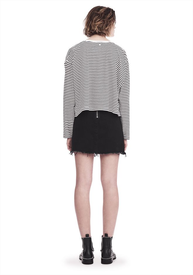 T by ALEXANDER WANG STRIPED LONG SLEEVE DROP SHOULDER TEE 上衣 Adult 12_n_r