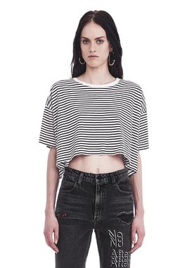 STRIPED SHORT SLEEVE DROP SHOULDER TEE
