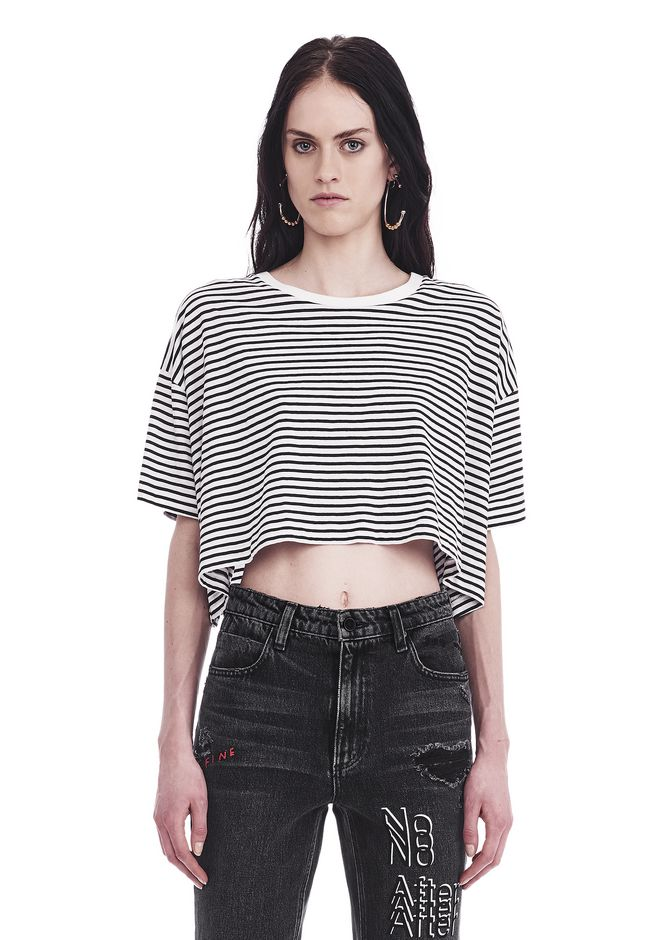 T by ALEXANDER WANG new-arrivals-women STRIPED SHORT SLEEVE DROP SHOULDER TEE