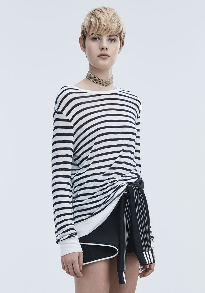T by ALEXANDER WANG STRIPE LINEN LONG SLEEVE TEE TOP Adult 12_n_a