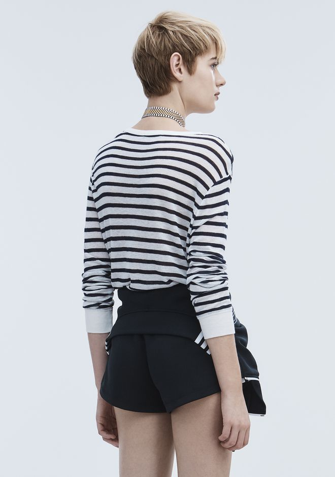 T by ALEXANDER WANG STRIPE LINEN LONG SLEEVE TEE TOP Adult 12_n_d