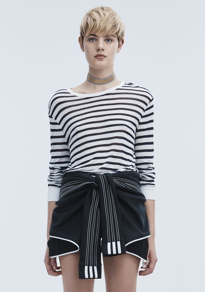 T by ALEXANDER WANG STRIPE LINEN LONG SLEEVE TEE TOP Adult 12_n_e