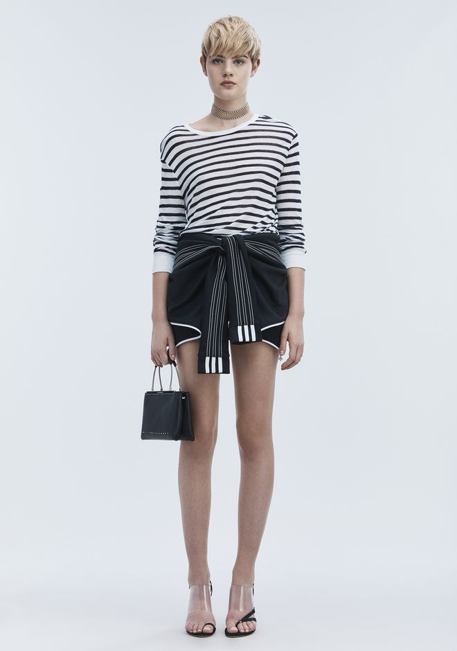 T by ALEXANDER WANG STRIPE LINEN LONG SLEEVE TEE TOP Adult 12_n_f