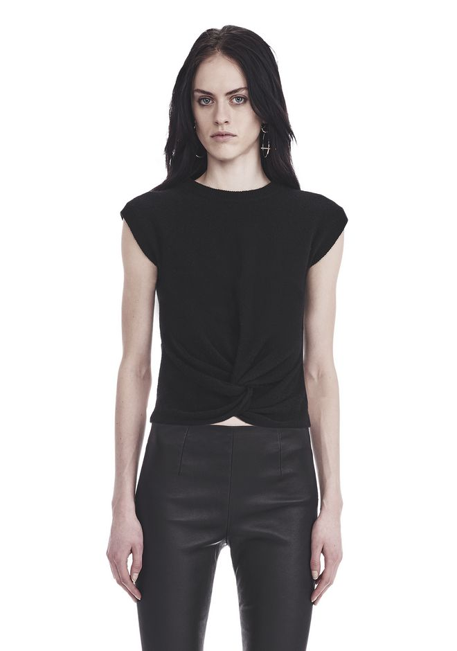 T by ALEXANDER WANG  TWIST FRONT SHORT SLEEVE CROPPED SWEATER TOP Adult 12_n_a