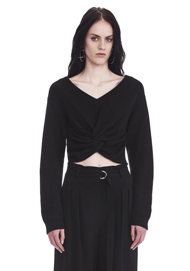T by ALEXANDER WANG TWIST FRONT LONG SLEEVE CROPPED SWEATER TOP Adult 12_n_e