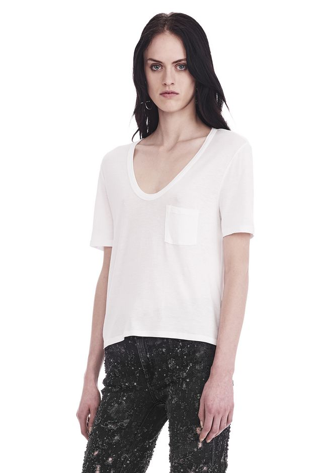 T by ALEXANDER WANG CLASSIC CROPPED TEE WITH POCKET TOP Adult 12_n_a