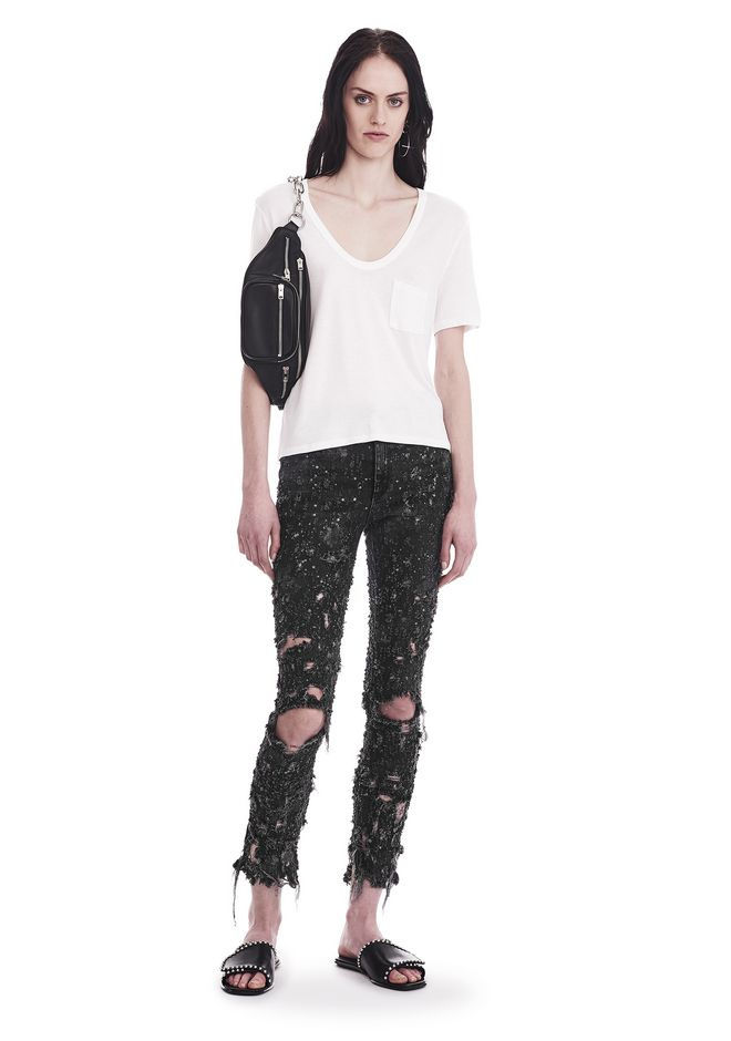 T by ALEXANDER WANG CLASSIC CROPPED TEE WITH POCKET TOP Adult 12_n_f