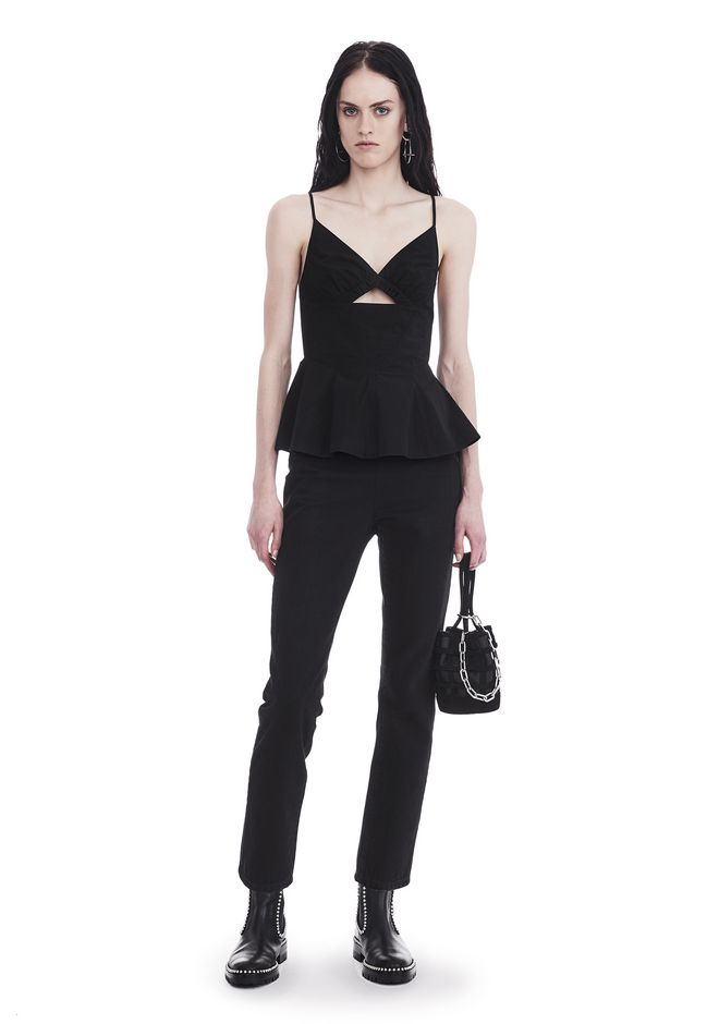 T by ALEXANDER WANG COTTON POPLIN CAMISOLE WITH FRONT KEYHOLE 上衣 Adult 12_n_f