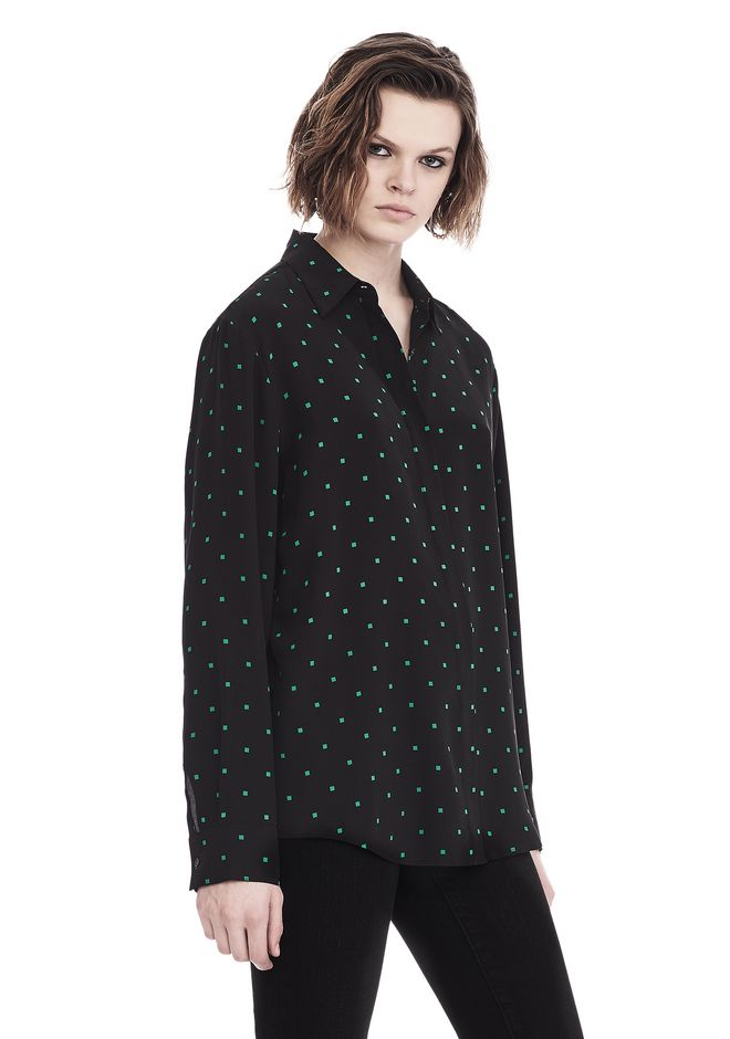 T by ALEXANDER WANG PRINTED SILK LONG SLEEVE COLLARED SHIRT 上衣 Adult 12_n_a