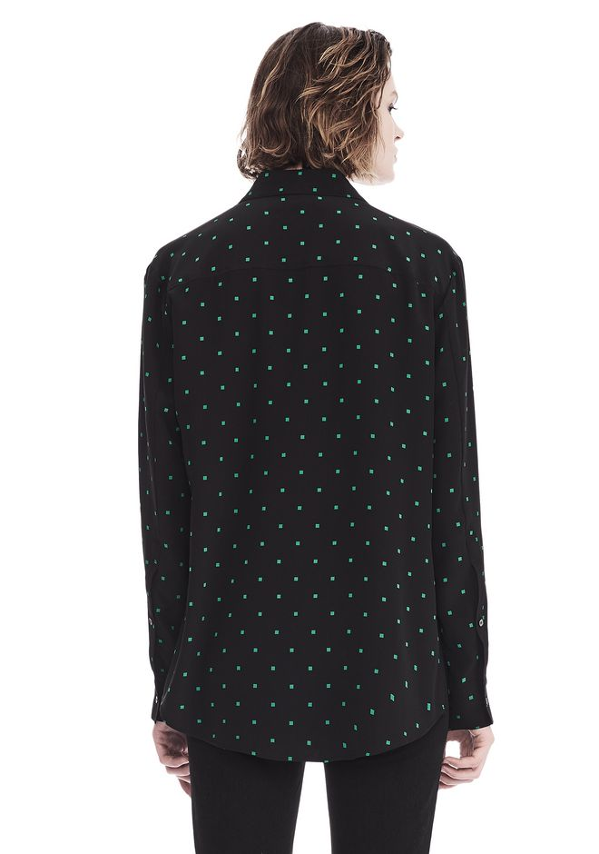 T by ALEXANDER WANG PRINTED SILK LONG SLEEVE COLLARED SHIRT 上衣 Adult 12_n_d