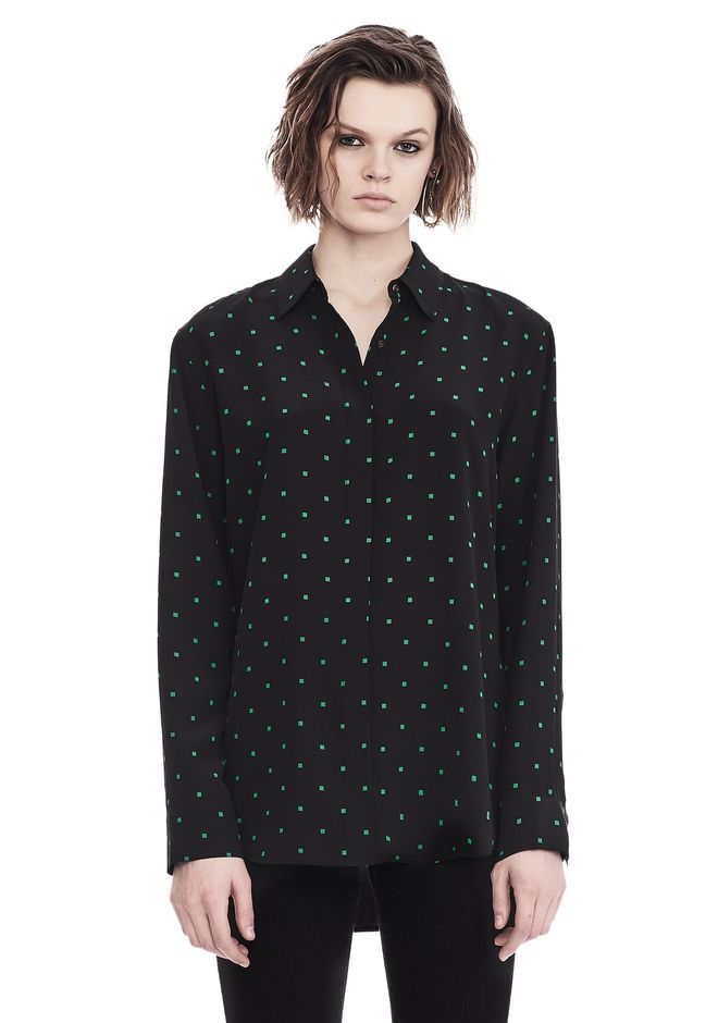 T by ALEXANDER WANG PRINTED SILK LONG SLEEVE COLLARED SHIRT 上衣 Adult 12_n_e