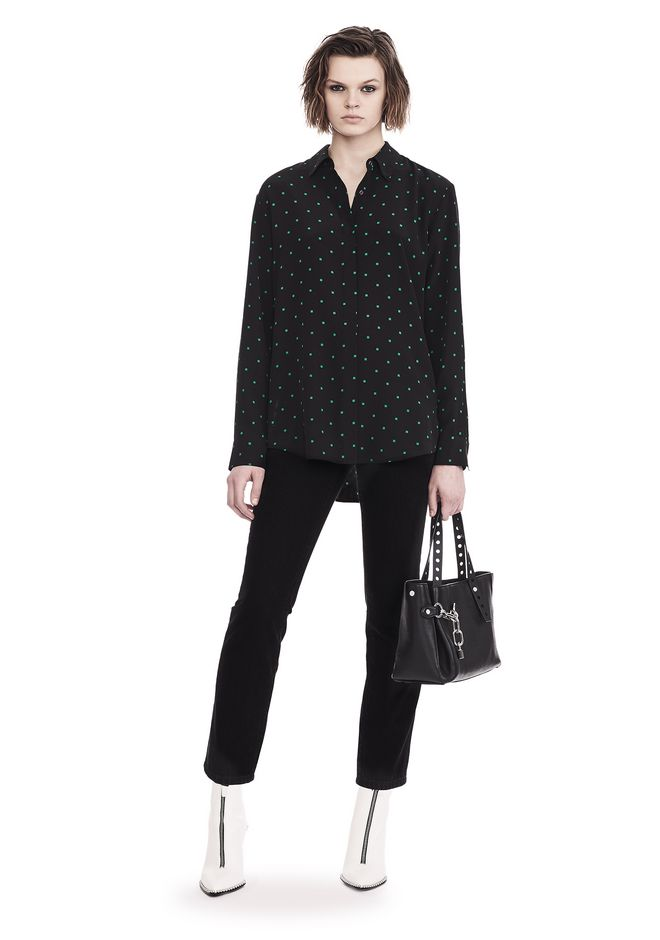 T by ALEXANDER WANG PRINTED SILK LONG SLEEVE COLLARED SHIRT 上衣 Adult 12_n_f