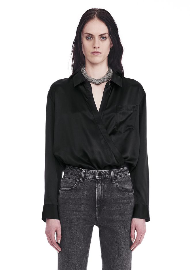 T by ALEXANDER WANG sltbtp SILK CHARMEUSE LONG SLEEVE WRAP SHIRT BODYSUIT