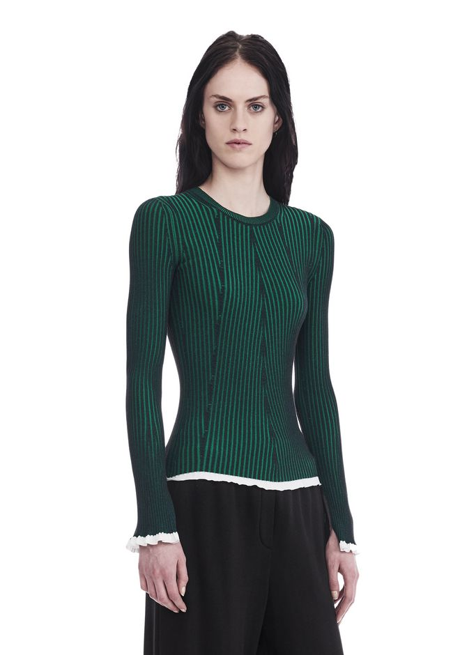 ... T by ALEXANDER WANG FLARED SLEEVE RIB SWEATER TOP Adult 12_n_a