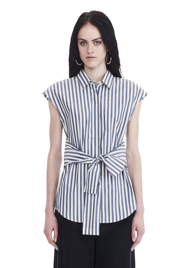 T by ALEXANDER WANG new-arrivals-women STRIPED SHORT SLEEVE FRONT TIE SHIRT