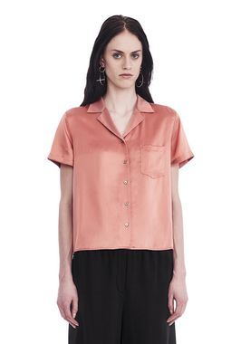 SILK CHARMEUSE SHORT SLEEVE COLLARED SHIRT
