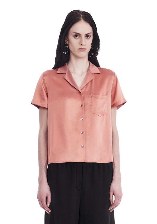 T by ALEXANDER WANG t-by-alexander-wang-sale SILK CHARMEUSE SHORT SLEEVE COLLARED SHIRT