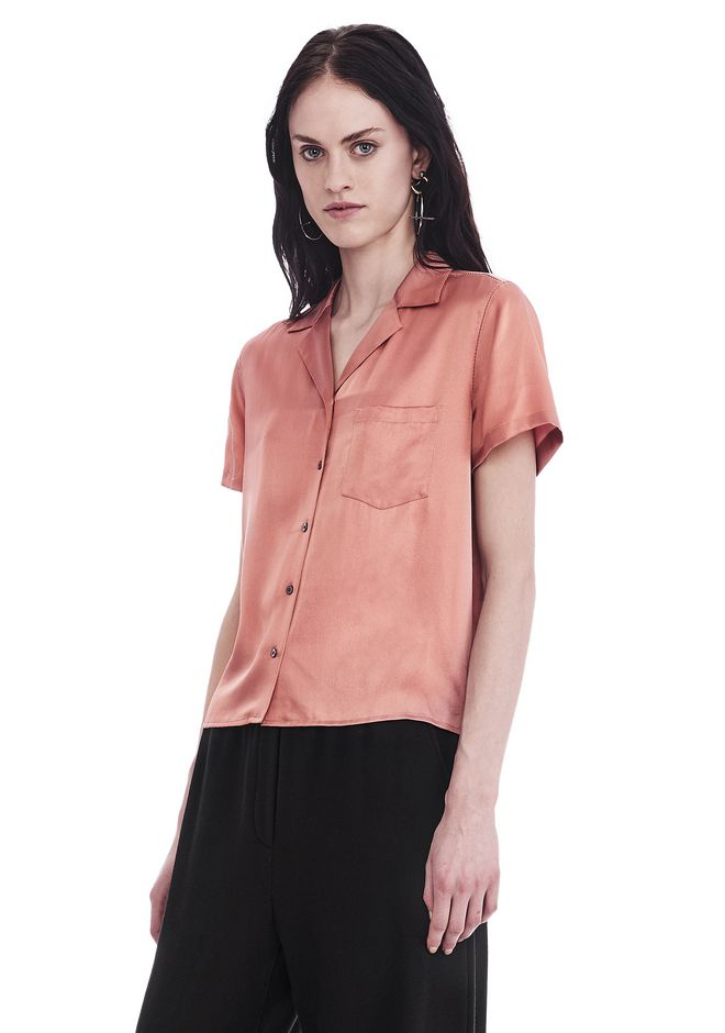 T by ALEXANDER WANG SILK CHARMEUSE SHORT SLEEVE COLLARED SHIRT 上衣 Adult 12_n_a