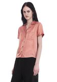 T by ALEXANDER WANG SILK CHARMEUSE SHORT SLEEVE COLLARED SHIRT 上衣 Adult 8_n_a