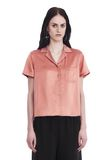 T by ALEXANDER WANG SILK CHARMEUSE SHORT SLEEVE COLLARED SHIRT 上衣 Adult 8_n_e