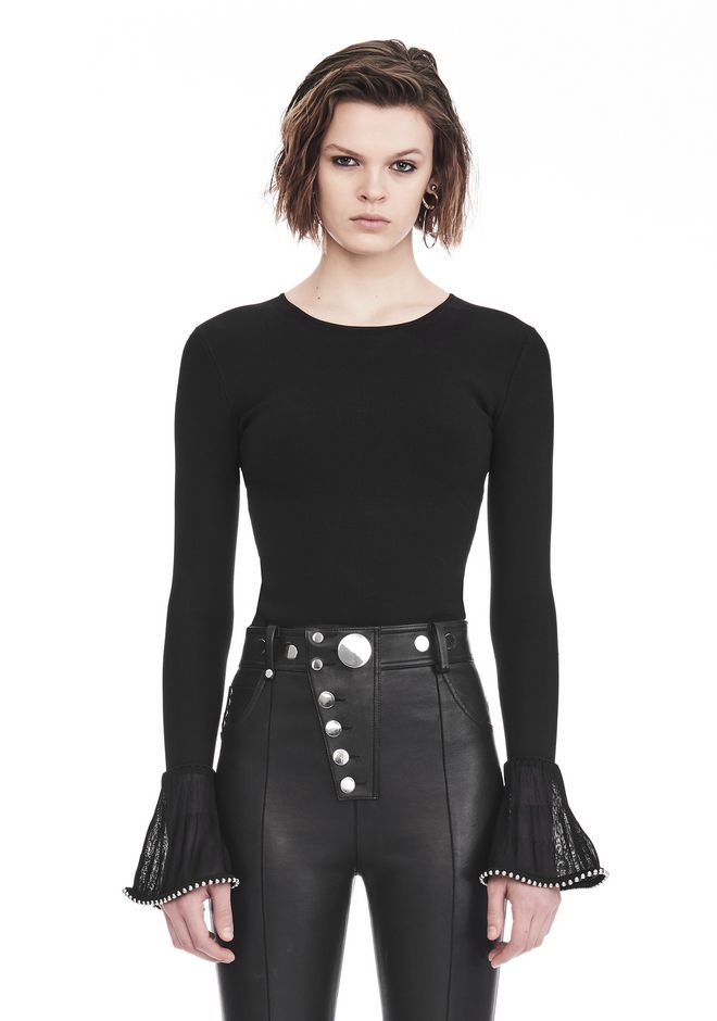 ALEXANDER WANG slrtwtp LONG SLEEVE PULLOVER WITH RUFFLED BALL CHAIN CUFFS