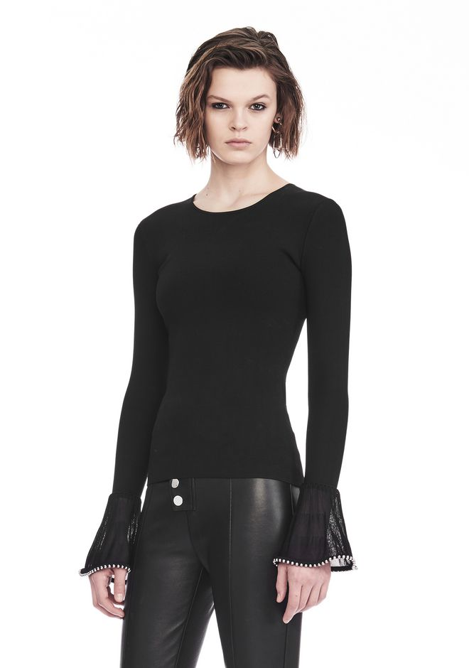 ALEXANDER WANG LONG SLEEVE PULLOVER WITH RUFFLED BALL CHAIN CUFFS TOP Adult 12_n_a