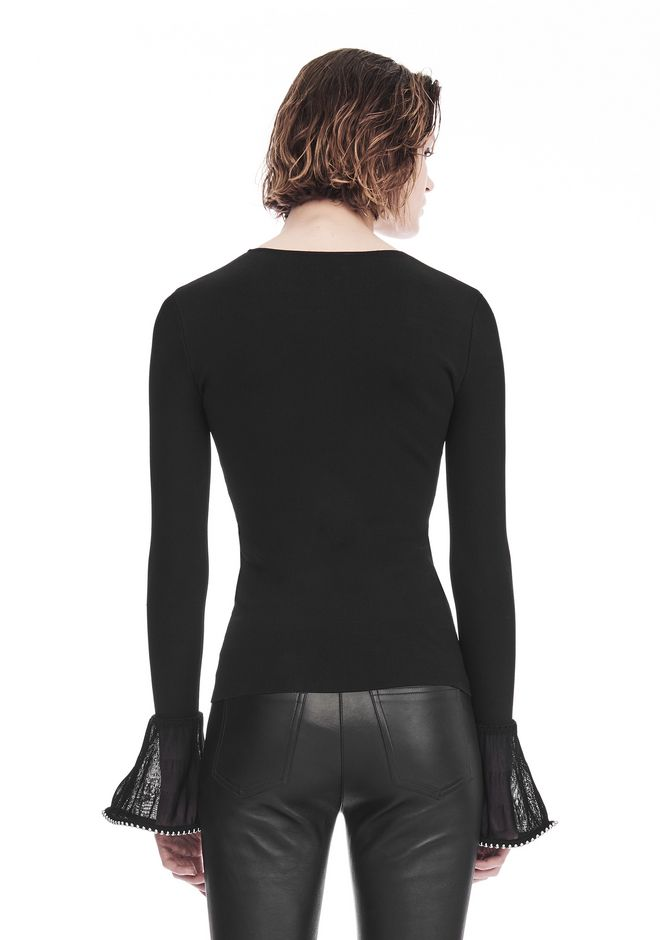 ALEXANDER WANG LONG SLEEVE PULLOVER WITH RUFFLED BALL CHAIN CUFFS TOP Adult 12_n_d