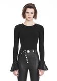 ALEXANDER WANG LONG SLEEVE PULLOVER WITH RUFFLED BALL CHAIN CUFFS TOP Adult 8_n_e