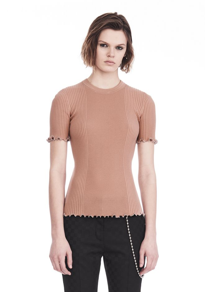 ALEXANDER WANG knitwear-ready-to-wear-woman RIBBED TEE WITH RUFFLED BALL CHAIN HEMS