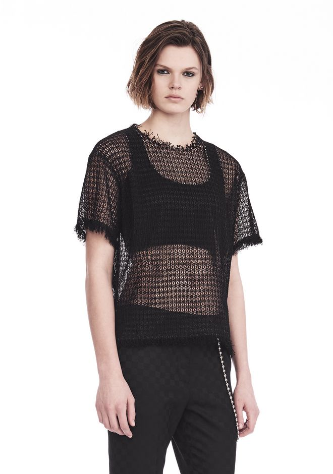 ALEXANDER WANG LACY T-SHIRT WITH RAW EDGES TOP Adult 12_n_a