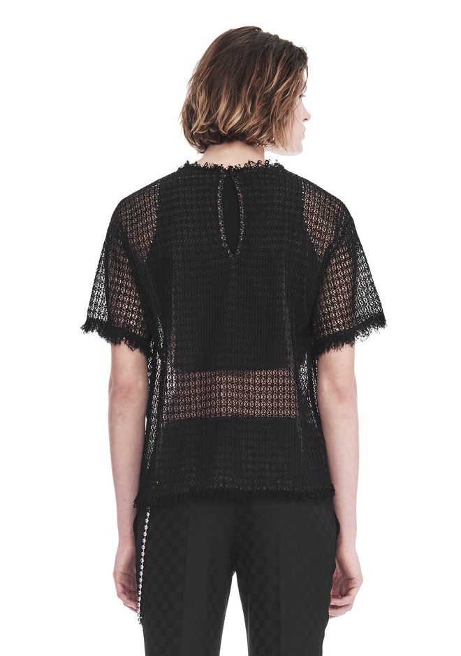 ALEXANDER WANG LACY T-SHIRT WITH RAW EDGES TOP Adult 12_n_d