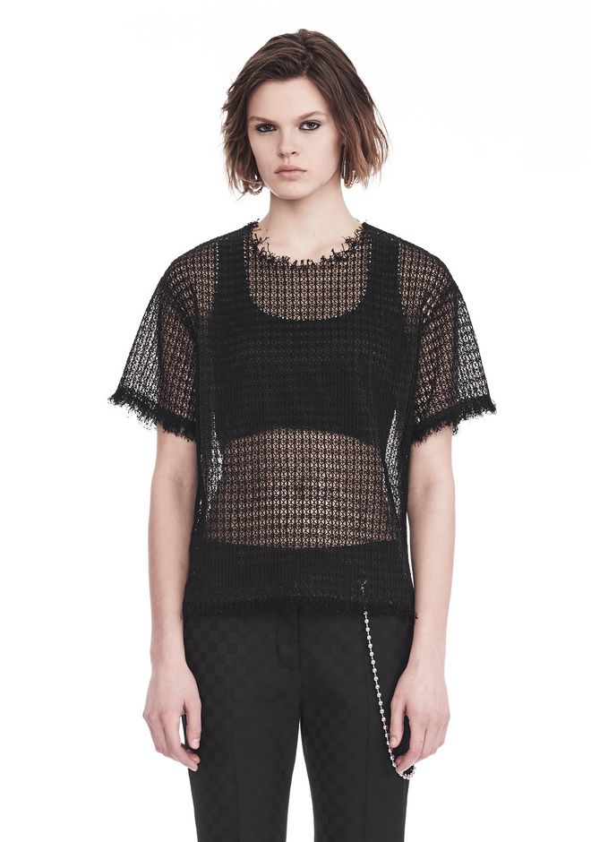 ALEXANDER WANG LACY T-SHIRT WITH RAW EDGES TOP Adult 12_n_e