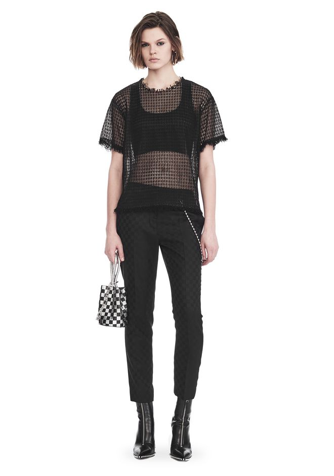 ALEXANDER WANG LACY T-SHIRT WITH RAW EDGES TOP Adult 12_n_f